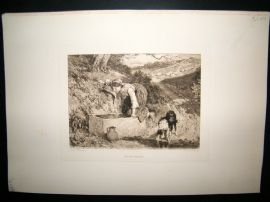 A. E. Coombe after Birket Foster 1891 Etching. Thirsty Comrades